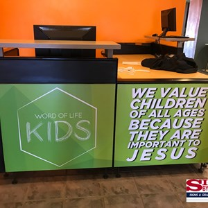 Front Desk Custom Graphics - Word of Life Church
