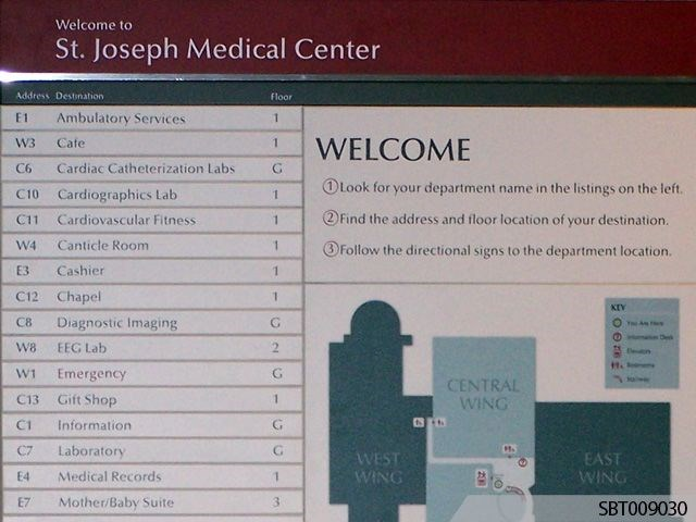 Medical Center Interior Directory Sign