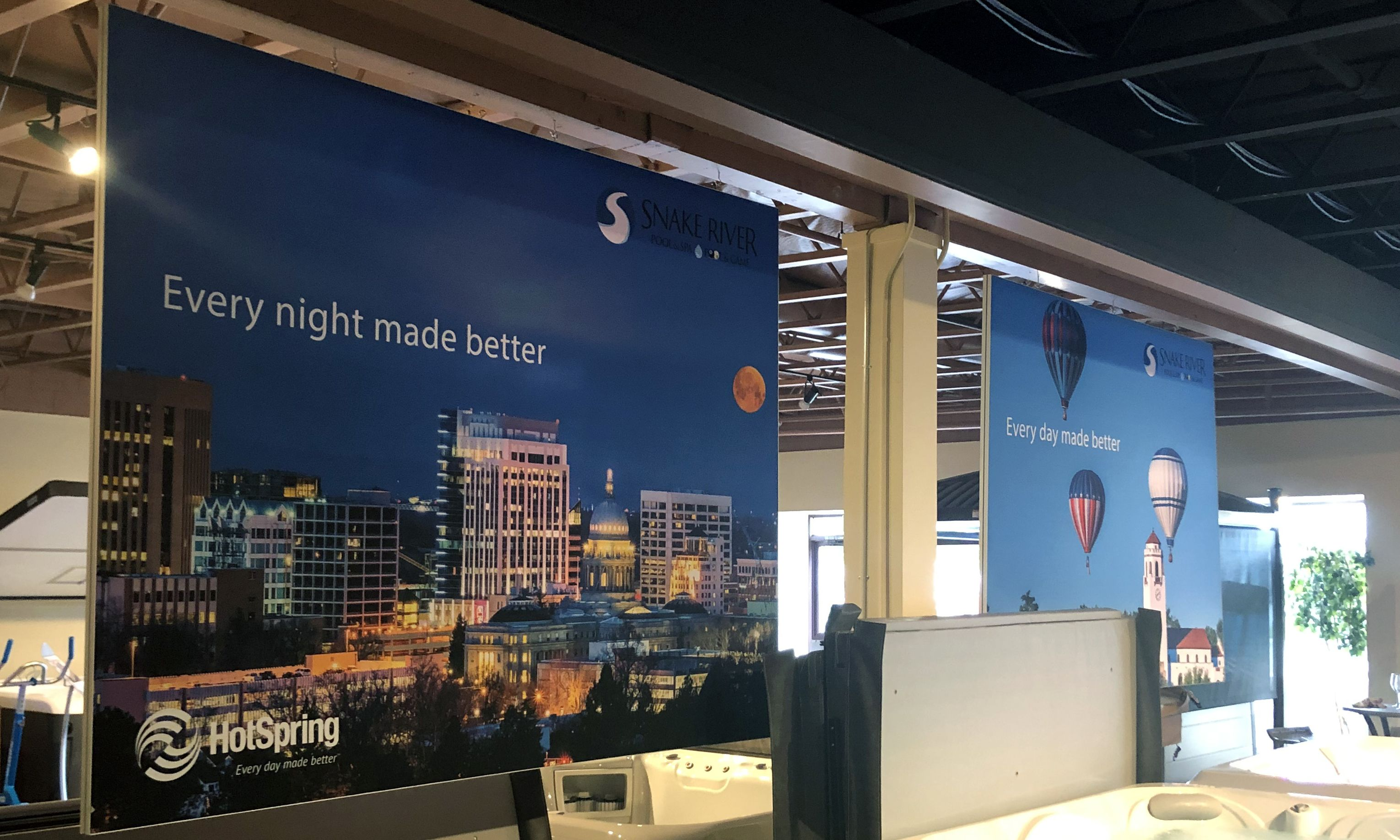 Fabric indoor office banner for Every night made better