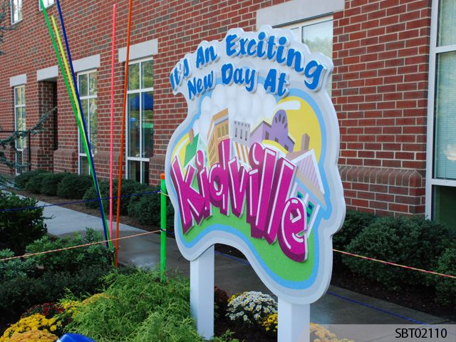 Kidville Custom Routed Post and Panel Sign