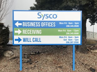 Business Offices Blue Post and Panel Directional Sign