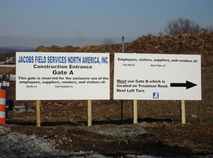 Wayfinding Post and Panel Sign for Construction Site