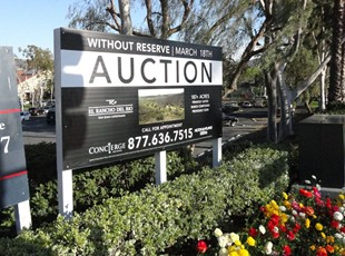 Black and White Post and Panel Sign for Auction