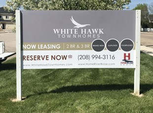 Post and Panel Sign for Townhomes Now Leasing