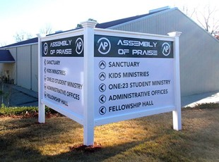 Assembly of Praise Post and Panel Sign