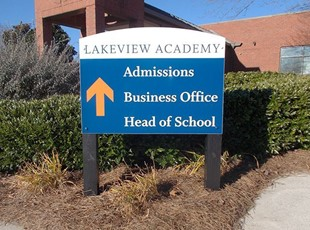 Blue Post and Panel Directional Sign for Lakeview Academy