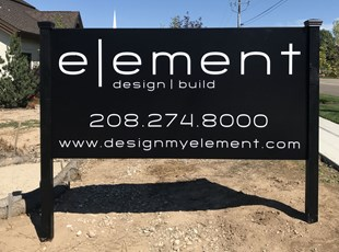 Black Post and Panel Sign for Design Company