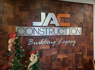 Construction Reception Area Dimensional Lobby Sign