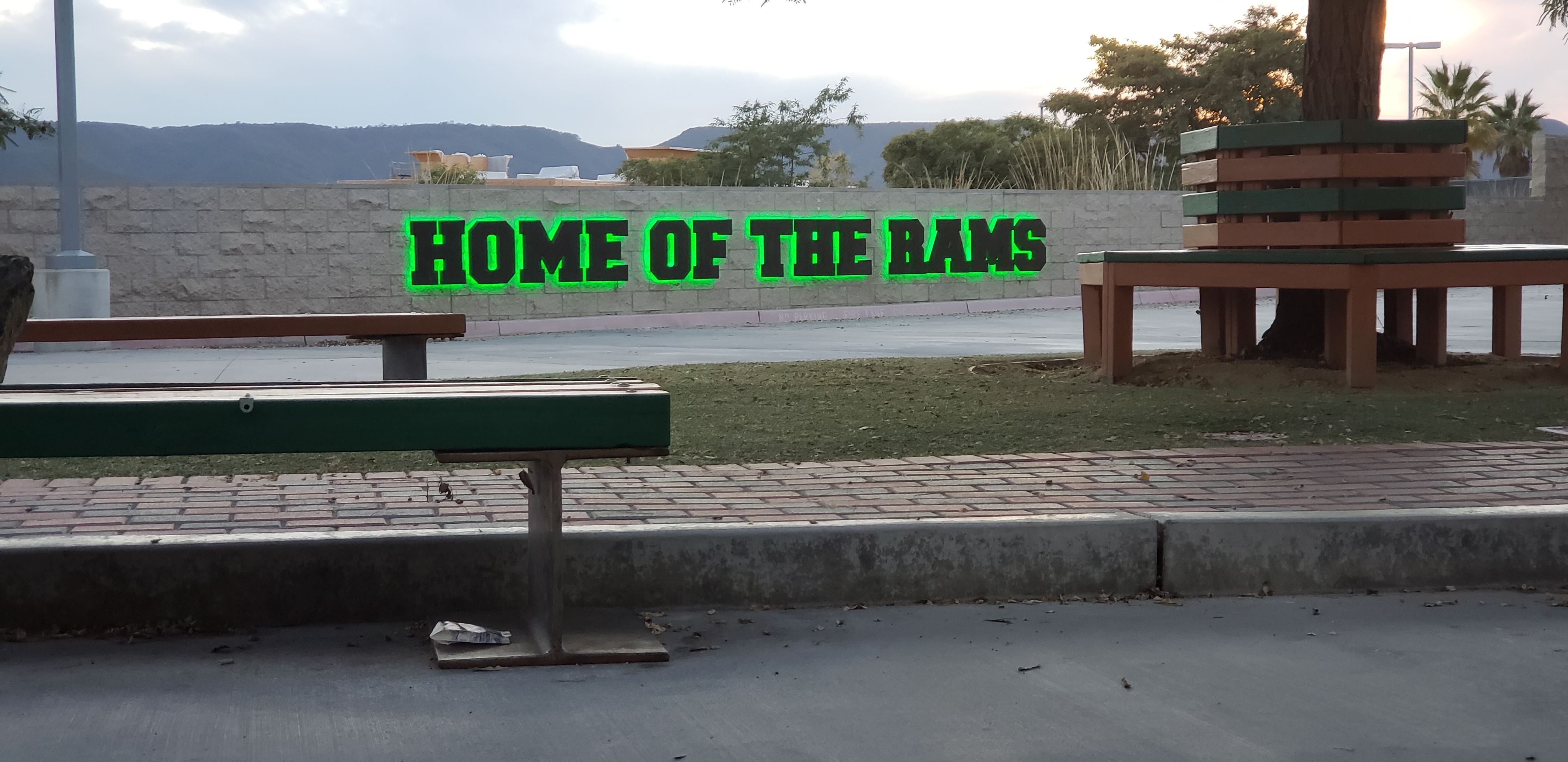 Home of the Rams 3D outdoor sign for College Campus