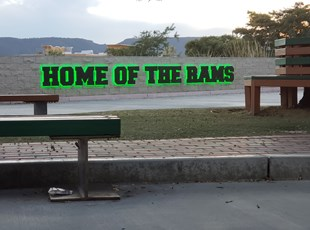 Exterior Home of the Rams 3D sign for College Campus