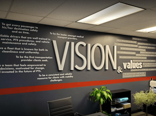 Vision and Values Wall Graphics and Dimensional Lettering