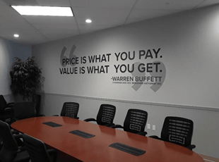 Conference Room Wall Graphics with Warren Buffet Motivational Quote