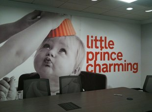 Interior Wall Graphics for Corporate Conference Room with Little Prince Charming Baby Face