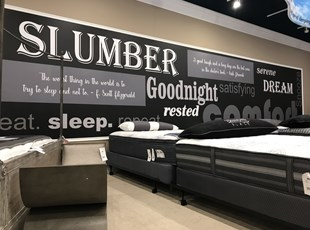 Interior Word Wall Graphic for Mattress Store
