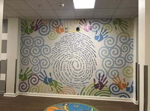 Creative Wall Graphics for Daycare Center with Handprints