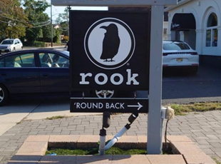 Black and White Directional Sign for Coffee Shop