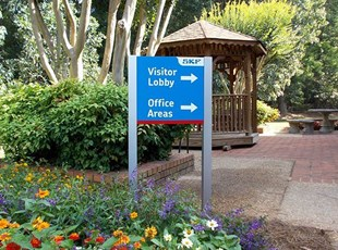 Directional Post and Panel Sign for Lobby Offices