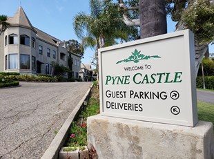 Directional Welcome Sign for Pyne Castle
