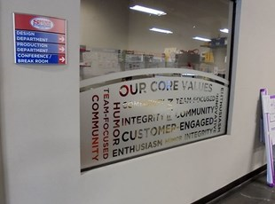 Frosted Window Graphics with Core Values