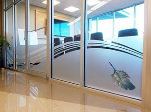 Frosted Window Graphics with Feather Symbol