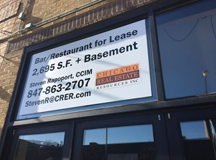 Real Estate Corrugated Window Graphic for Bar Restaurant for Lease