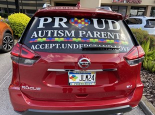 Vehicle Lettering for Proud Autism Parents