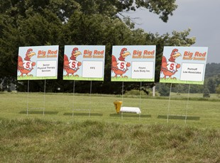 Yard Signs for Golf Sponsorship with Chicken Mascot