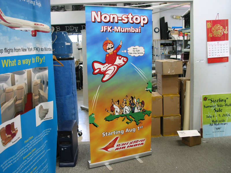 Banner stands for non-stop flights