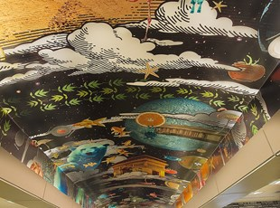 Creative Ceiling Graphics for School Library