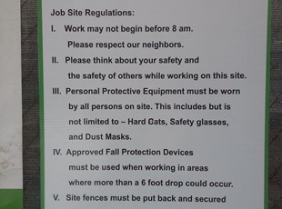 Construction Corrugated Plastic Sign with Job Site Regulations