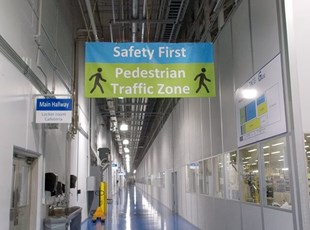 Safety First Pedestrian Traffic Indoor Vinyl Banner