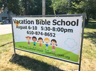 Outdoor Banner Stand for Vacation Bible School
