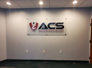 Indoor Acrylic Standoff Sign for Crane Services
