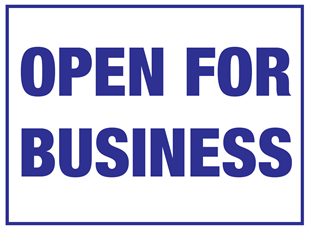 COVID-19 Open for Business Sign