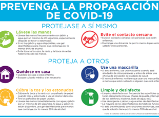 Prevent the Spread of COVID-19 Sign in Spanish