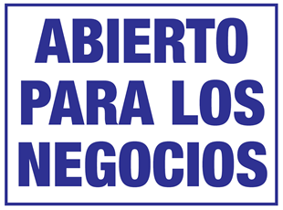 Open for Business Sign in Spanish