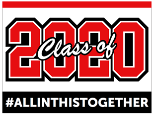 Graduation Sign Class of 2020 Red
