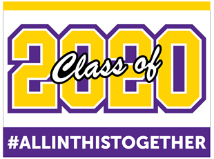 Graduation Sign Class of 2020 Yellow and Purple