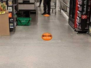 Social Distancing Floor Graphics in Retail Environment