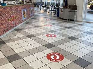 Social Distancing Floor Graphics for Cafeteria