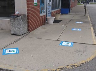Social Distancing Floor Graphics for Credit Union Exterior