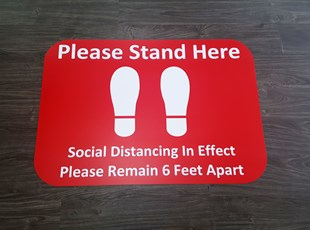 Social Distancing Floor Graphics for Please Stand Here