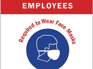 Cutomer and Employees Required to Wear Face Masks Sign