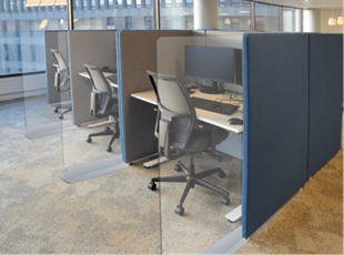 Sneeze Guards Separating Office Cubicles