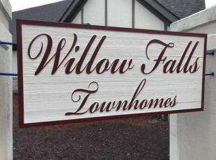 Wooden Sandblasted Sign for Townhomes