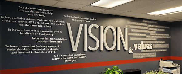 Mission and Values 3d Lobby Sign