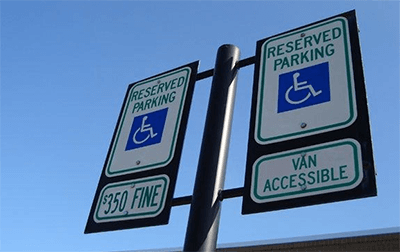 Handicap Parking Signs with Reserved Parking and Symbol of Access