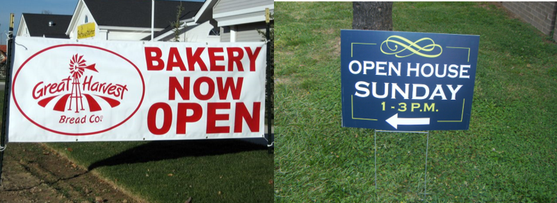 Now open banner and Open House Yard Sign