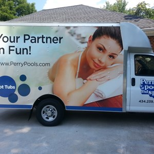 Perry Pools and Spas New Box Truck Wrap