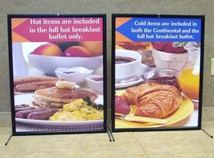 Countertop breakfast Buffet Signs